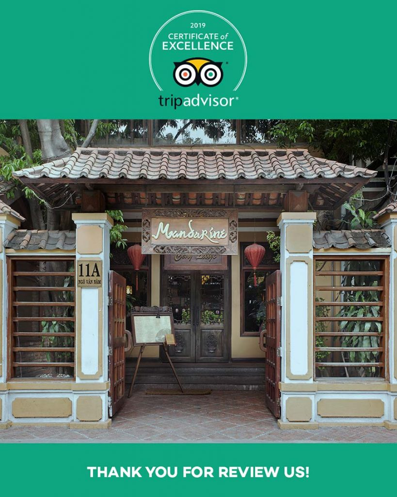 Mandarine received COE by Tripadvisor